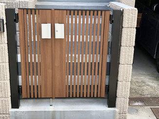 エクステリアリフォーム カラー統一して一体感をもたせた、機能面にも長ける玄関ドアと門扉